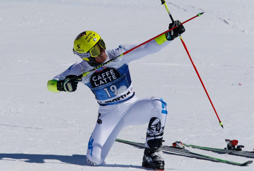 Max Blardone (ITA) after the Giant Slalom competition at the Alpine Ski World Cup Finals, in St. Moritz, Switzerland, March 19, 2016. (Giova Auletta/Pentaphoto)