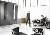 Damast Pannello doccia CRIO in acciaio inossidabile verniciato nero opaco e bianco opaco